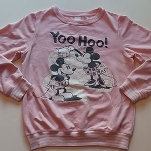 Disney Mickey Minnie pink White sweatshirt small